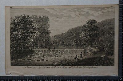 1776 - Engraving of View on the River Wie in Monsal Dale in Derbyshire