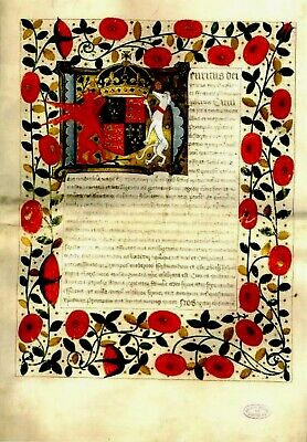 Henry VIII and Katherine of Aragon Marriage contract. Re-production . NEW