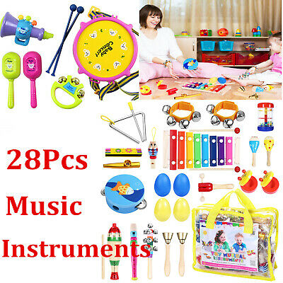 28 PCS Kids Wooden Music Percussion Instruments Toys Kit Children Toddlers Set