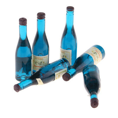 Miniature Food Model Wine Champagne Bottles For 1/12 Dolls House 6 Pieces