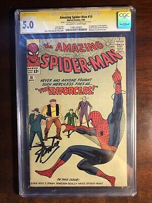 AMAZING SPIDER-MAN #10 CGC 5.0 1st ENFORCERS Signed STAN LEE Ss 1964