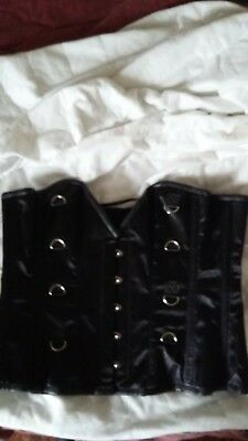 """Overbust steel boned corset size 28"""" Black satin feel with D rings FREE PnP"""