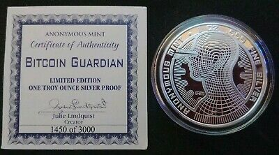 Bitcoin Guardian Anonymous Mint 1 oz Silver Proof First Batch 1450/3000