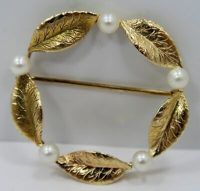 Ladies ~ 14K Gold ~ LEAF WREATH PEARL * BROOCH / PIN * ~ UNIQUE ANTIQUE VINTAGE