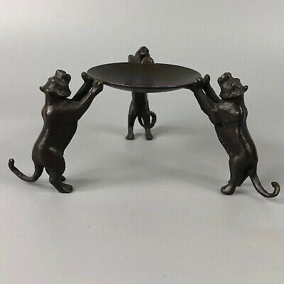 Exquisite Collectible old Copper Handwork Lion Usable Candlestick Statue YR