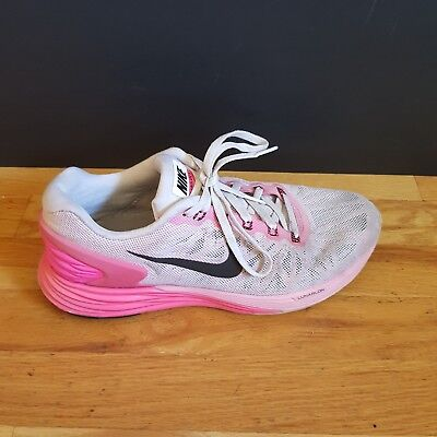 best sneakers e4753 cd48e Womens Nike Lunarglide 6 White Pink Running Shoes Sneaker Size 8