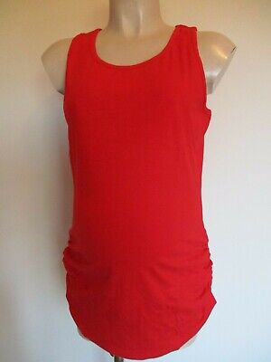 Lovely Red Ruched Maternity Long Vest Tank T-Shirt Top Size 12 14 16 18 20 New