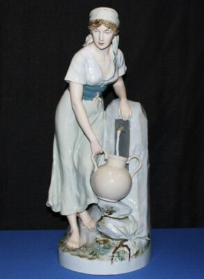 "1940's Royal Dux Large 24"" Porcelain Bohemia Girl at Water Fountain Figurine"