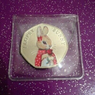 Uncirculated 2018 Valentines Day Coloured Flopsy Bunny 50P Coin