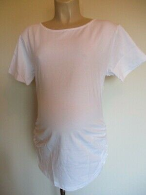 Classic White Ruched Maternity T-Shirt Top Size 12 14 16 18 20 New