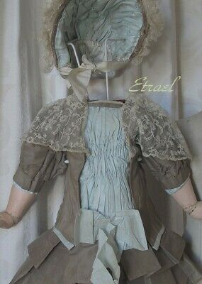 French doll dress & Hat  for Jumeau ,Bru, Steiner ,E.J. or Portrait Doll  21""