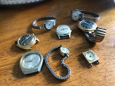21 Jewels VINTAGE LOT OF 8 WATCHES - TIMEX - PARTS OR REPAIR