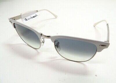 74ee0604d69 Ray-Ban Clubmaster Metal RB 3716 90883F White Silver Sunglasses Blue  Gradient