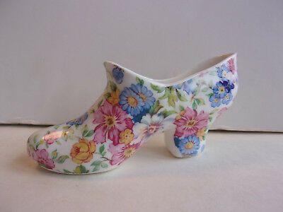 Royal Stafforshire Bone China small shoe with all over flowers