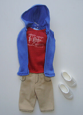 Barbie/KEN Clothes/Fashions Blue Hoodie With Tan Shorts And Shoes NEW!