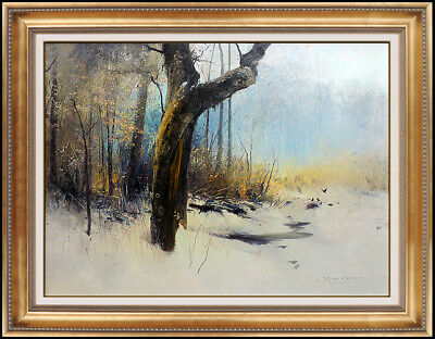 Michael Coleman Original Oil Painting On Board Signed Winter Landscape Authentic