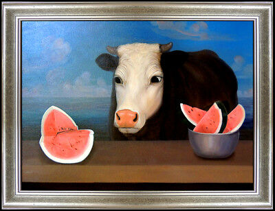 Juan Kelly Original Oil Painting Signed Surreal Animal Cow Still Life Modern Art