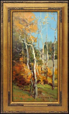 Scott Christensen Oil Painting on Board Original Landscape Signed Birch Tree Art
