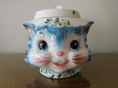 1955-60 Lefton Japan Miss Priss Cat Ceramic Cookie Jar 1502 W Sticker AS IS
