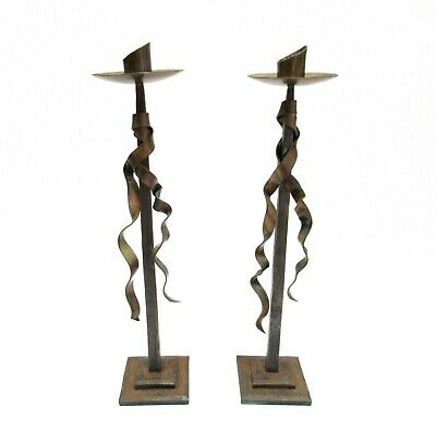Pair Of Iron Candlesticks With Bronze Tassles Made By Payne Junker