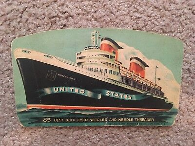 SS United States Passenger Liner Folder With Sewing Needles