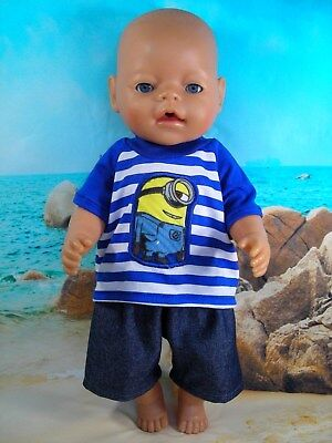 "Dolls clothes for 17"" Baby Born boy doll~MINIONS~BLUE STRIPE TOP~SHORTS"