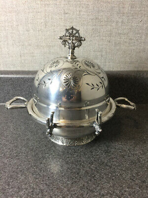 Vintage James W. Tufts Quadruple Plate Covered Dome Butter Dish #3803