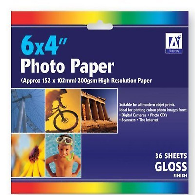 "6"" x 4"" Photo Paper Gloss 200gsm, 36 sheets"