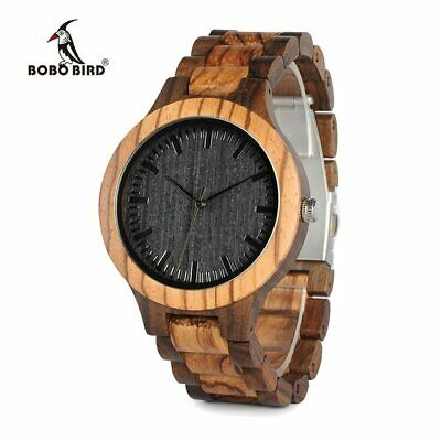 BOBO BIRD D30 Round Vintage Zebra Wood Case Men Watch With Ebony Bamboo Wood Fac