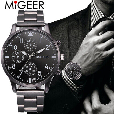 MIGEER Fashion Man Crystal Stainless Steel Analog Quartz Wrist Watch Classic Lux