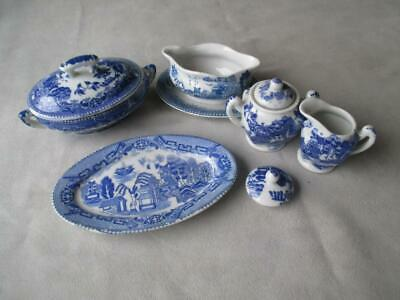 4 Pc Childs Blue Willow China - Doll House