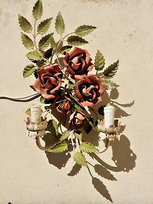 French 1930's Toleware wall sconce in the form of Roses. Simply stunning!!!
