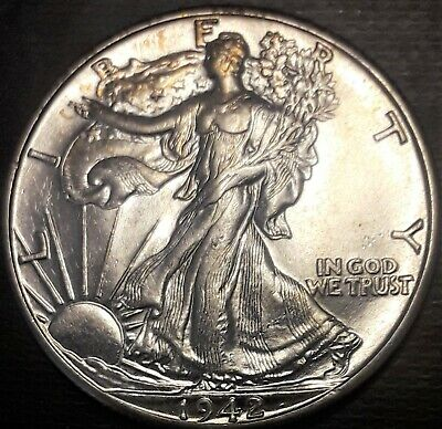 1942 WALKING LIBERTY SILVER HALF DOLLAR BRILLIANT UNCIRCULATED   02159b