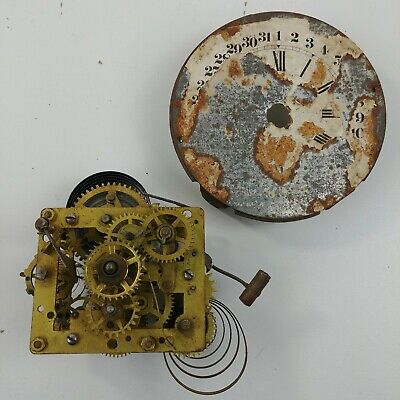 Windup Alarm Clock Steampunk PARTS Movement Assembly Dial & Hands - Lot #12