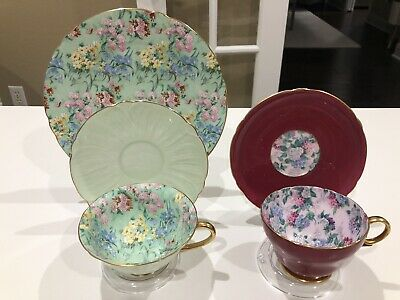 2 Shelley Oleander Henley Chintz Melody Summer Glory Cup & Saucer Plate Trio