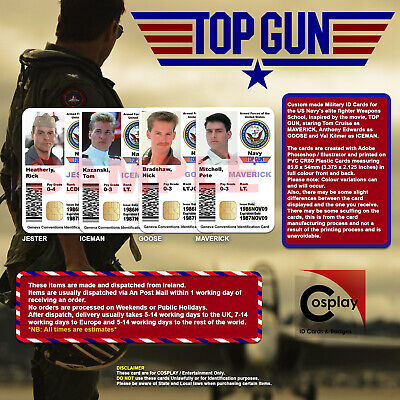 TOP GUN NAVY Cosplay ID Cards, Maverick, Goose, Iceman, Tom Cruise, Val Kilmer