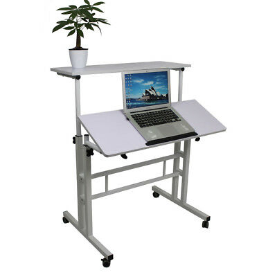 Wheel Mobile Stand Up Desk Height Adjustable Home Office Table Stand Seat White