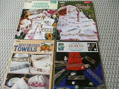 Leisure Arts Cross Stitch designspatterns/leaflets for towels x 4 - free post