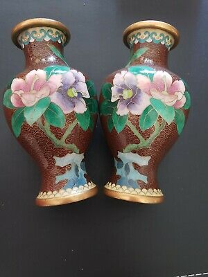 Magnificent Pair Of Vintage Chinese  Enamel Gem Quality Beijing Cloisonne Vases