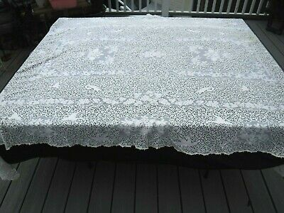 Large Antique Handmade White Needle / Lace Tablecloth ca. 1920's 5' X 8'