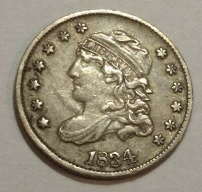 1834 XF Capped Bust silver US HALF DIME.