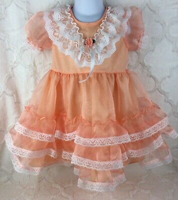 Vintage Style Girls Toddler Size 4 Coral Orange Sheer Lace Ruffle Easter Dress