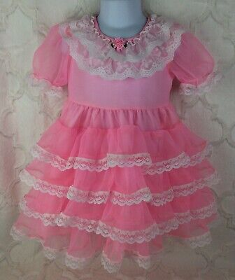 Vintage Style Girls Toddler Size 3 Pink Soft Sheer Lace Ruffle Easter Dress