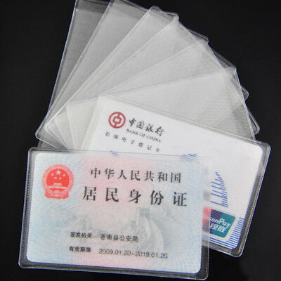 Lot Plastic Transparent Vertical ID Credit Card Holder Protector Case Cover