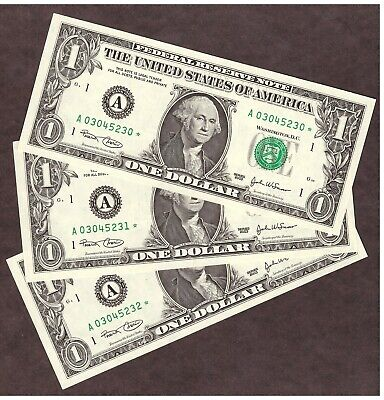 ( 3 ) 2003 $1 BOSTON FRN *STAR* NOTES - CONSECUTIVE SN's - UNC