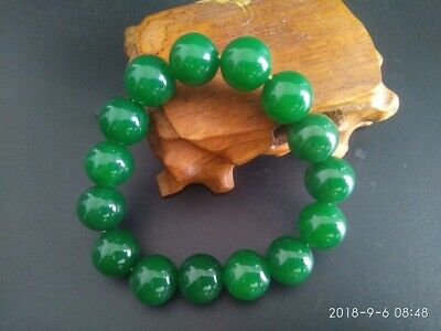 Seiko Made Russian Spinach Green Jibble Beads Stretch Bracelet Nr
