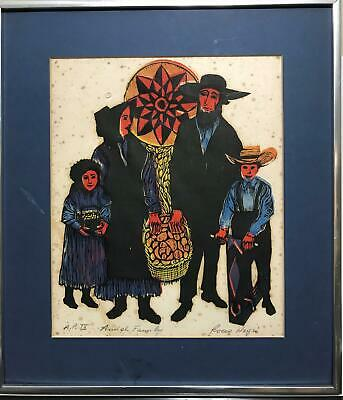 Pencil Signed ROCCO NEGRI Artist Proof Amish Family Color Art Print