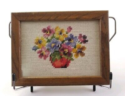 Needlepoint Floral Small Framed Picture Pre Owned