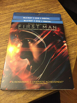 First Man (Blue Ray,2019 ) Gosling, Case W/Art & Slip Cover, No DVD No Digital
