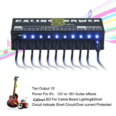 Caline CP - 05 Blue LED 10 Isolated Output Power Supply For Guitar Effect Pedals